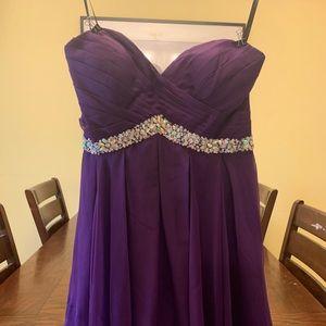 Purple formal dress strapless
